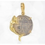 AUTHENTIC 1 Reale Cob Treasure Coin in Solid 14KT Mermaid Pendant  circa 1556-1598