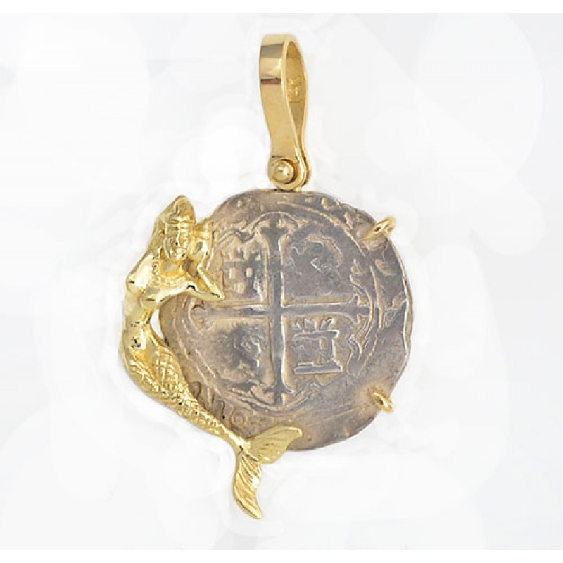 Authentic 1 reale cob treasure coin in solid 14kt mermaid pendant authentic 1 reale cob treasure coin in solid 14kt mermaid pendant circa 1556 1598 aloadofball Gallery