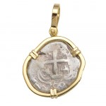 Authentic 2 Reales Treasure Cob Coin in Solid 18kt Gold Pendant Two Visible Dates: 1766