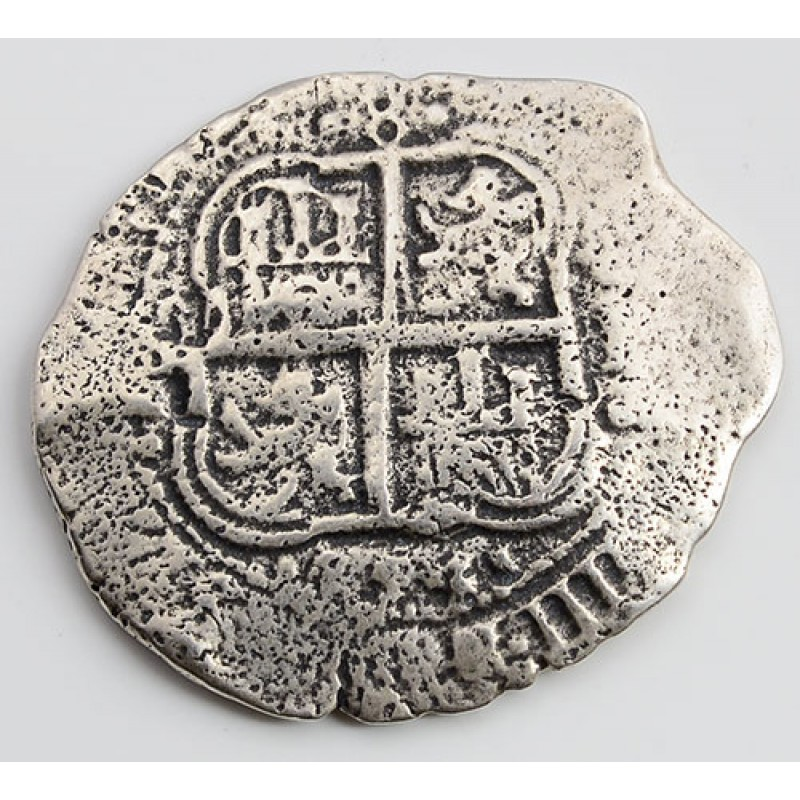 Spectacular 8 Reales Treasure Cob Coin From The LA CAPITINA Shipwreck Of 1654 Two Visible Dates