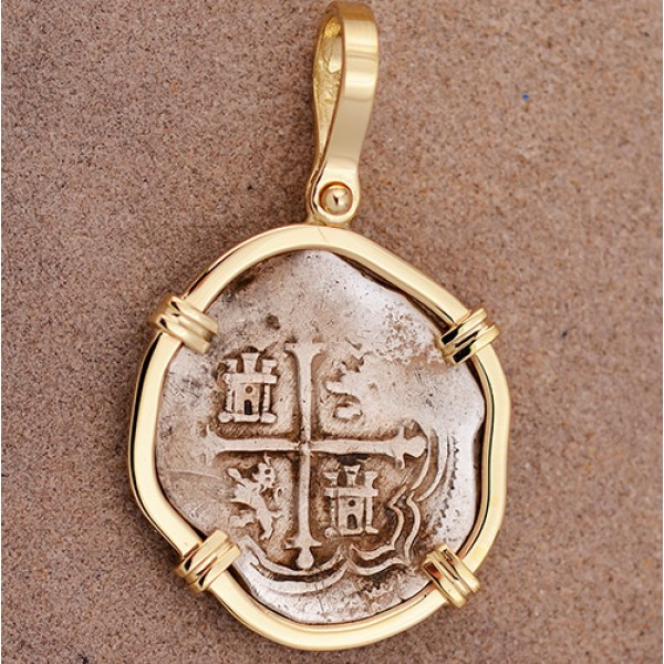 AUTHENTIC 1 REALE Treasure Cob Coin in Solid 14kt Gold Pendant  circa 1556-1598