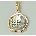 2 Reales Treasure Cob Coin in Solid 14kt Gold  Pendant Visible Date of 1748
