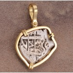 Authentic 2 Reales Treasure Cob Coin in Solid 14kt Gold Pendant Dated 1753