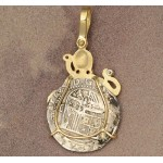 Authentic 1 Reale Treasure Coin in 14kt Gold with Diamond Octopus Pendant circa 1556-1621