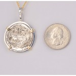 2 REALES TREASURE COB COIN in Solid Sterling Silver and 14kt Gold Pendant circa 1598-1621