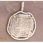 8 REALES TREASURE COB COIN in Solid Sterling Silver and 14kt Gold Pendant circa 1620's