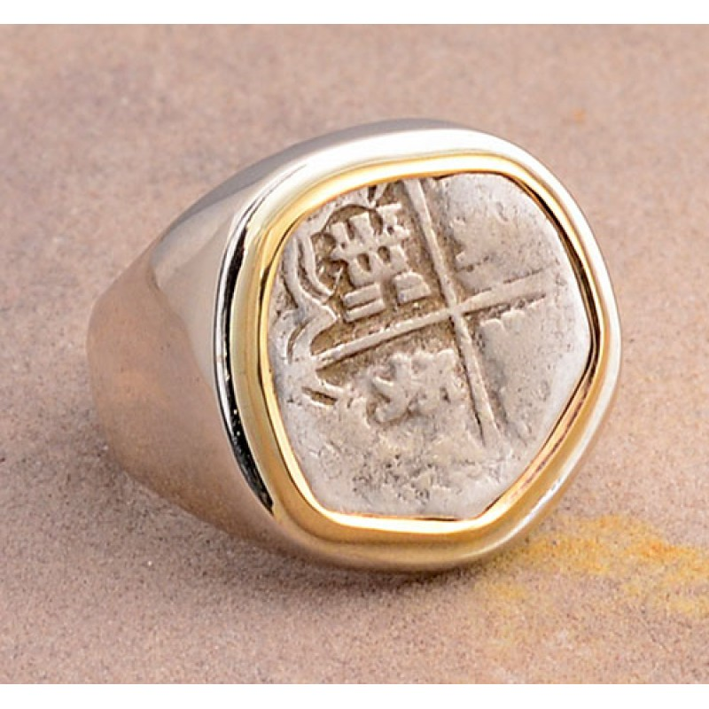 AUTHENTIC 1 REALE TREASURE COB COIN in 14kt Gold and Sterling Silver Coin  Ring size 11 circa 1598-1621