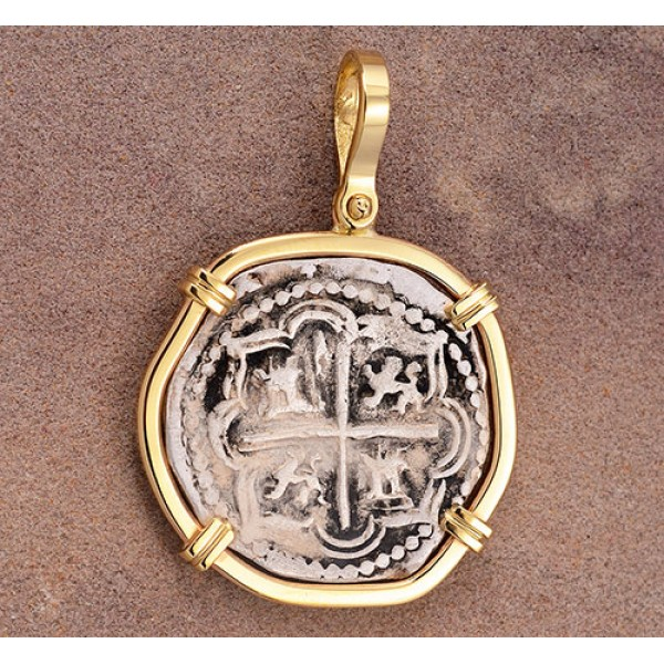 Authentic 2 Reales Treasure Cob Coin in Solid 14kt Gold Pendant circa 1556-1598